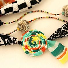 New fabric necklaces... Two layers, beautiful fabrics!