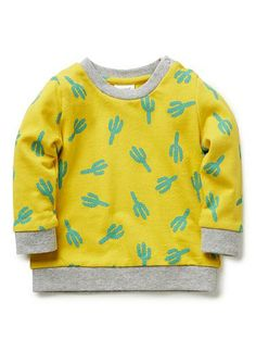 100% cotton french terry sweat with all over cactus print and contrast rib trims