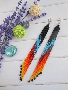 Women gift ideas ñative american earrings long fringe beaded earrings long earrings for women native style beading tribal earrings Seed Bead Jewelry, Seed Bead Earrings, Diy Earrings, Beaded Jewelry, Hoop Earrings, Beaded Earrings Native, Beaded Earrings Patterns, Tribal Earrings, Native Beading Patterns