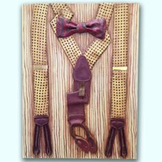 Men's Vintage Bow Tie and Button-on Suspenders, Original Painting, Real Menswear Preserved. $95.00, via Etsy.
