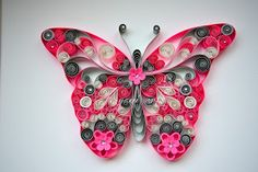 Quilled pink butterfly