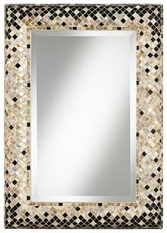 "Checkered Sea Shell 33"" Mosaic Wall Mirror - EuroStyleLighting.com #EuroStyleHoliday"