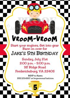 NEW  DIY Printable Race Car Invitation by ciaobambino on Etsy, $12.00