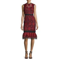Catherine Deane Sleeveless Lace Flounce Dress ($785) ❤ liked on Polyvore featuring dresses, sheath dresses, red sheath dress, red dress, ruffle hem dress and sheath cocktail dress