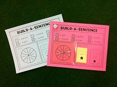 """Build-a-sentence"" Roll dice to get a noun, spin to get a verb, and choose an adjective... students have to write all 3 words in a complete sentence :-)"