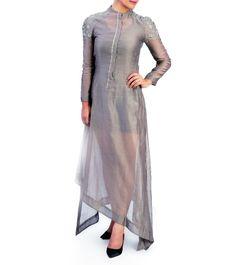 Ash Chanderi Silk Aari Work Asymmetric Cut Long Dress