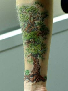 Tree Tattoo With Leaves