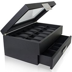 Watch Box with Valet Drawer for Men 12 Slot Luxury Watch Case Display Organizer Carbon Fiber Design for Mens Jewelry Watches The Mens Storage Boxes Holder Boasts a Large Glass Top Metal Buckle * Learn more by visiting the image link.