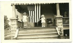 Vintage Young Girls Holding American Flag Photo