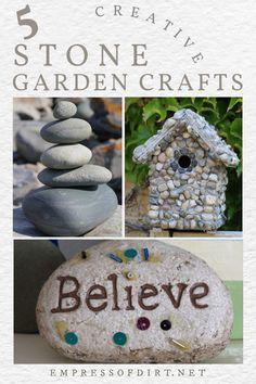 Ideas for creative uses for stones as garden art and decor. Garden Crafts, Garden Art, Outdoor Ideas, Outdoor Decor, Plant Markers, Arts And Crafts, Diy Crafts, Stone Crafts, Garden Stones
