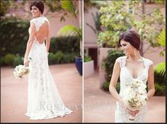 Deep v neck open back sexy lace wedding by Rosaryweddingdress, $328.00