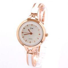 New Hot Women's Rose Gold White Thin Band Watches Bracelet Rhinestone Wrist Watch
