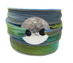 Silk Wrap Bracelet - Silver Hammered Clasp - Custom - Your Choice of Colors