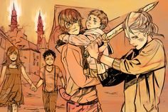 Cassandra Jean's spoilery art for City of Heavenly Fire. The Blackthorns and Emma in Idris.