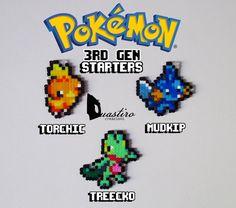Pokemon Starters-3rd Generation-Torchic Mudkip Treecko-Hama Beads 8 bit Pixel Art-Duastiro Artkal Fuse Perler Creations