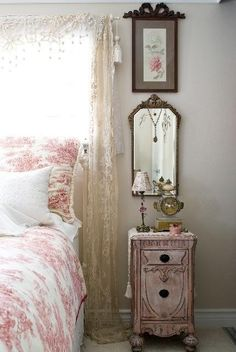 Shabby Pink, Lace and Toile....See More at thefrenchinspiredroom.com