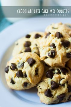 Chocolate chip cake mix cookies | DearCrissy.com