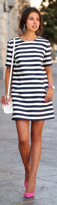 Cameo Black And White Stripe Short Sleeve Mini Dress