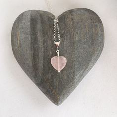**Processing times are temporarily set at 2-3 weeks but will return to the normal 1-3 business days in the New Year.** Rose Quartz heart pendant on a Sterling silver chain. Perfect for a Spring wedding. This would make a great gift for your bridesmaids or flower girls. Featuring genuine
