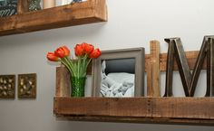 How to Make Stylish Shelves Out of Pallet --Wondering if these would hold qrt. or half gal jars of spices?