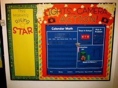 LOVE this idea for a movie star theme Star Themed Classroom, Stars Classroom, Classroom Calendar, Classroom Setup, School Classroom, School Fun, Classroom Organization, Movie Classroom, Future Classroom