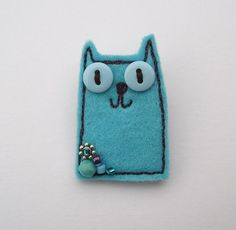Blue Felt Cat Brooch: