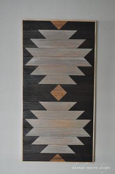 rustic boho aztec wood wall art 24 x 12 by HannahRawsonDesigns