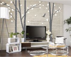 Nursery tree wall decal trees vinyl wall decal wall sticker baby room decoration- 3 Birch Tree with Flying Birds via Etsy