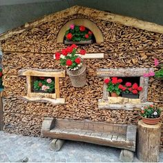 Firewood Rack, Firewood Storage, Natural Furniture, Lodge Decor, Outdoor Living, Outdoor Decor, House In The Woods, Interior Design Living Room, Wood Art