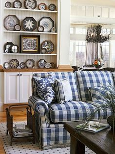 {cabinets under bookshelves for living room} blue and white cottage home.