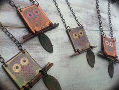 Handmade Leather Necklace, Owl Jewelry, orange blue owl, necklace. $18.00, via Etsy. @Monica Jacobson