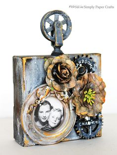 Wow! Amazing Mixed Media Vintage Canvas  by Meihsia for the Simon Says Stamp Monday challenge  (Good 'ol Days)
