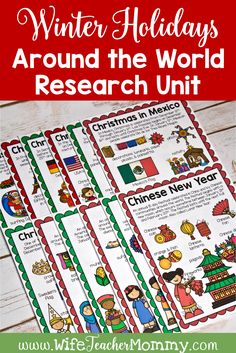 This Winter Holidays around the World research unit includes everything you need for a Christmas around the World unit! Info pages, parent letter, winter holidays around the world crafts, and more. Christmas around the world activities are so much fun and engaging for your students. Includes Hanukkah, Diwali, Chinese New Year, Ramadan, Kwanzaa, and Christmas in many other countries around the world. #wifeteachermommy #teachersfollowteachers