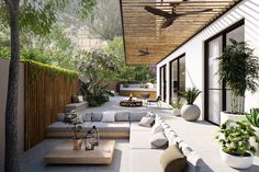 The Craft - Architectural & Interior Design Visualization - Lipski 12 - Interiors Boston House, Townhouse Garden, Outdoor Spaces, Outdoor Living Rooms, Outdoor Dining, Outdoor Decor, Krabi Villa, Porches, Lounge