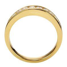 14k Yellow Gold Diamond Straight Wedding Band | Gabriel & Co NY