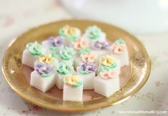 Embellished sugar cubes for a tea party