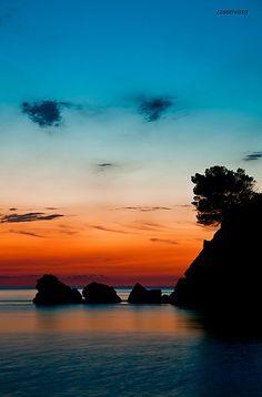 Sunset in Ibiza, Spain.