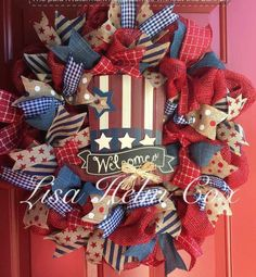 Welcome wreath, July 4th, red white & blue deco mesh