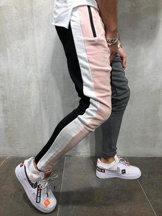 NEW Men Leisure Color Matching Design Personality Sweatpants Hip-hop Pants Sweatpants Outfit, Jogger Sweatpants, Vans Oldschool, Denim Company, Track Suit Men, Urban Fashion, Men Fashion, Swagg, Streetwear Fashion