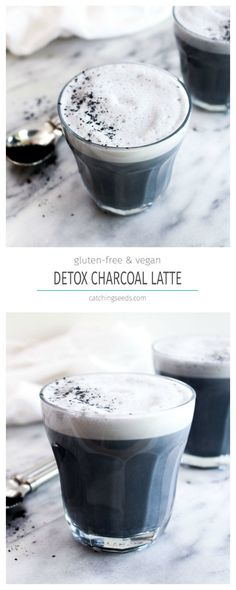 This Detox Charcoal Latte is a toxin eliminating elixir that tastes just like a vanilla latte! This healthy recipe uses just 4 ingredients and can be made in 5 minutes! | CatchingSeeds.com