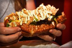 Dog Haus in Pasadena has amazing food. There are so many hot dogs and burgers I want to try but I keep getting the Sooo Cali.  Hot dog on Hawaiian bread, topped with tempura fried onions, spicy basil aioli, mixed greens, and avocado.  Delicious.  And the tots are so buttery and crunchy.