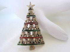 Vintage Heart  Rhinestone Star Christmas Tree Brooch Pin