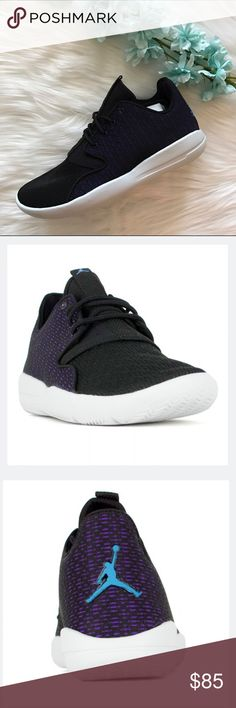 Jordan Eclipse Black and Purple Brand New Brand new Jordan Eclipse! It is listed as 5.5Y but fits a 6.5 - 7 woman's. May be snug depending on the thickness of your socks. Bundle for discounts! No off app transaction or trades! Jordan Shoes