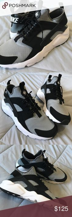 """Nike Air Huarache Run Ultra New w/o tags. Gently Worn one time for 10 minutes!!!! Even lighter than the original, a """"light-as-air"""" feel and classic look. Made with a three-layer mesh and bootie construction, the Huarache Run Ultra remains cool and breathable but delivers a sock-like fit. An elastic strap and rubber heel cage provide support when you need it, and the reflective logo grants increased visibility. 🖤🖤🖤 $145 with tax in store. Nike Shoes"""