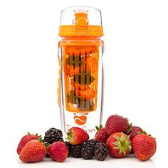 Fitinfuser Fruit Flavor Infuser Water Bottles Infusing Basket for Colorful Display Trendy Cool Gift of Fitness for Your Special Friend, Mom, Dad, Men, Women, Kids, Orange, 32 oz, Large