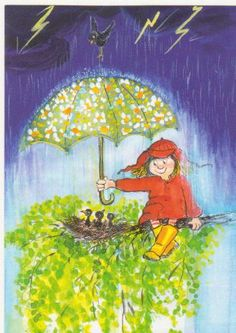 Paraigües al carrer / Paraguas en la calle / Umbrellas on the street Umbrella Art, Under My Umbrella, Rain Art, Singing In The Rain, Art Et Illustration, Rain Drops, Whimsical Art, Vintage Cards, Rainy Days