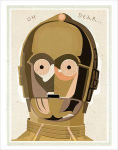 Star Wars c3po poster 11x14 or 16x20 print Star by aswegoArts