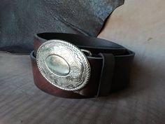 Genuine Leather Cowboy Western Belt Men's belt Women's image 4 Handmade Leather Wallet, Leather Bifold Wallet, Western Belts, Western Cowboy, Saddle Leather, Metal Buckles, Wallets For Women, Cuff Bracelets, Arm