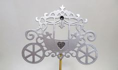 Party Decorations – Cinderella Carriage Floral Picks Pram Centerpieces – a unique product by MagicalStart on DaWanda Princess Theme Party, Baby Shower Princess, Princess Birthday, Cinderella Cupcakes, Cinderella Party, Carriage Cake, Frozen Party Decorations, Cinderella Carriage, Glitter Cards