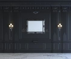 Black Wall Panels In Classical Style With Silvering. Rendering Stock Illustration - Illustration of marble, graphic: 91790590 Red Walls, Black Walls, White Walls, Rendering Walls, 3d Rendering, White Wall Paneling, Cnc Cutting Design, Classic House Design, Wall Decor Design